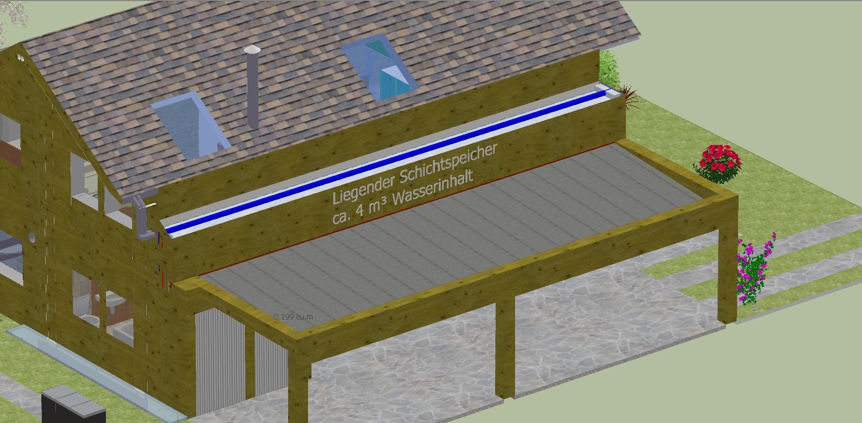 Liegender Schichtspeicher, 4 m³ Wasserinhalt