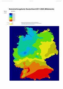 Mittelwerte der solaren Einstrahlung für Deutschland 2011-2020
